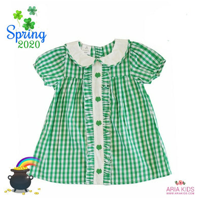 Green Clover Gingham Plaid Short Dress - ARIA KIDS