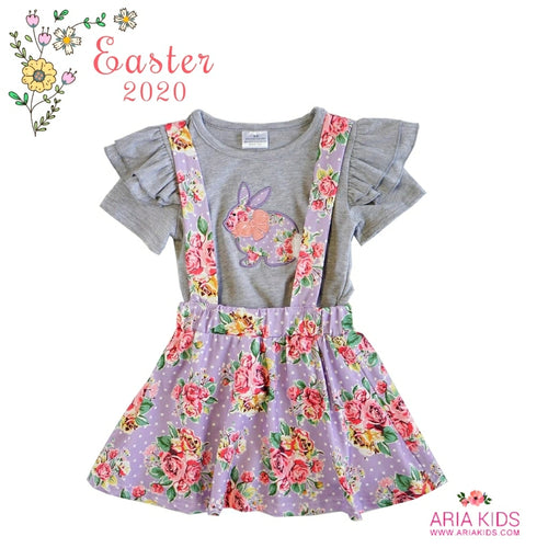 Grey Little Bunny Suspender Skirt Set Outfit - ARIA KIDS