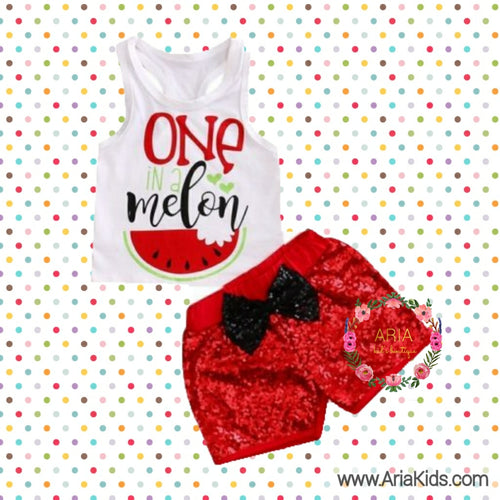 One in a Melon First 1st Birthday 2-piece Outfit - ARIA KIDS