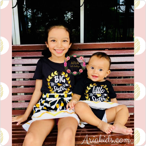 Black/Gold Big Sister Little Sister 2-piece sibling sets - ARIA KIDS