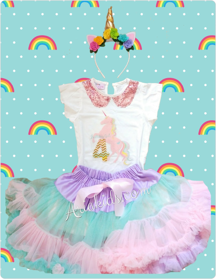 4th Unicorn Birthday Outfit - Custom order - ARIA KIDS