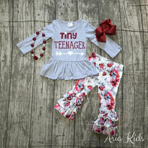Tiny Teenager Floral Burgundy/Grey 4-Piece Outfit Fall Pant Set - ARIA KIDS