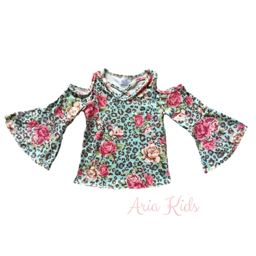 Pink Floral Leopard Bell Sleeve Fall Tunic - ARIA KIDS