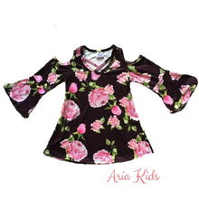 Rose Open Shoulder Bell Sleeve Dress 3-Piece set (Accessories included) - ARIA KIDS
