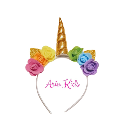 Rainbow Unicorn Floral Headband - ARIA KIDS