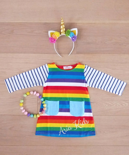 Rainbow Brite Striped Dress - ARIA KIDS