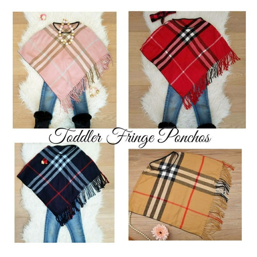 ARIANA Toddler Girl Fringe Plaid Poncho - ARIA KIDS