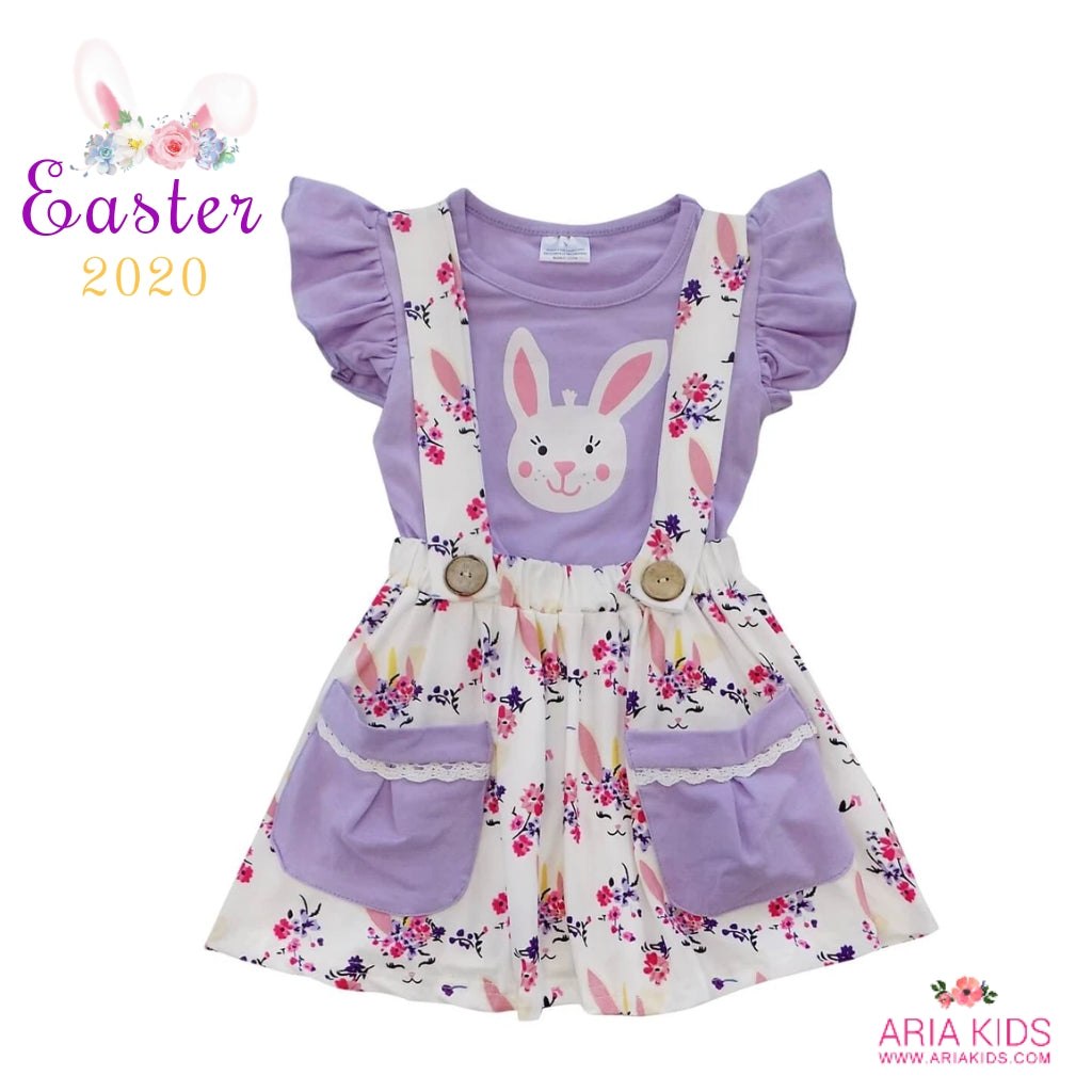 Purple Floral Bunny Suspender Pockets Skirt Set - ARIA KIDS