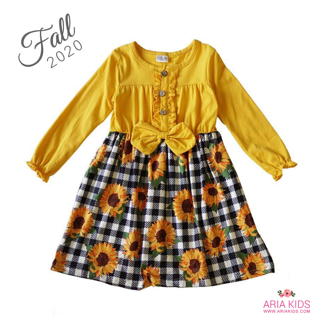 Sasha Sunflower Plaid Twirl Dress - ARIA KIDS