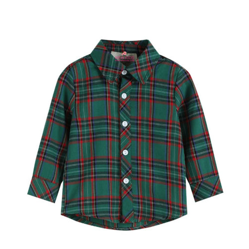 Green Tartan Plaid Boys Shirt - ARIA KIDS