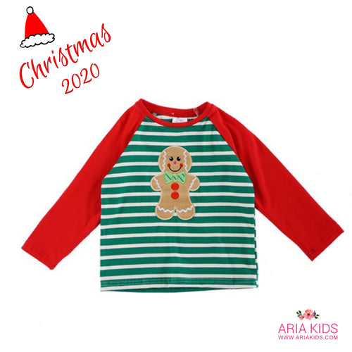 Ginger Bread Man Striped Raglan Shirt - ARIA KIDS
