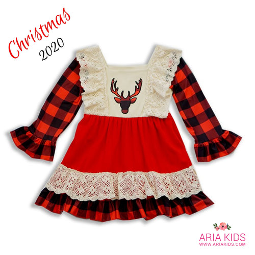 Plaid Deer Bell Sleeved Lace Christmas Dress - ARIA KIDS