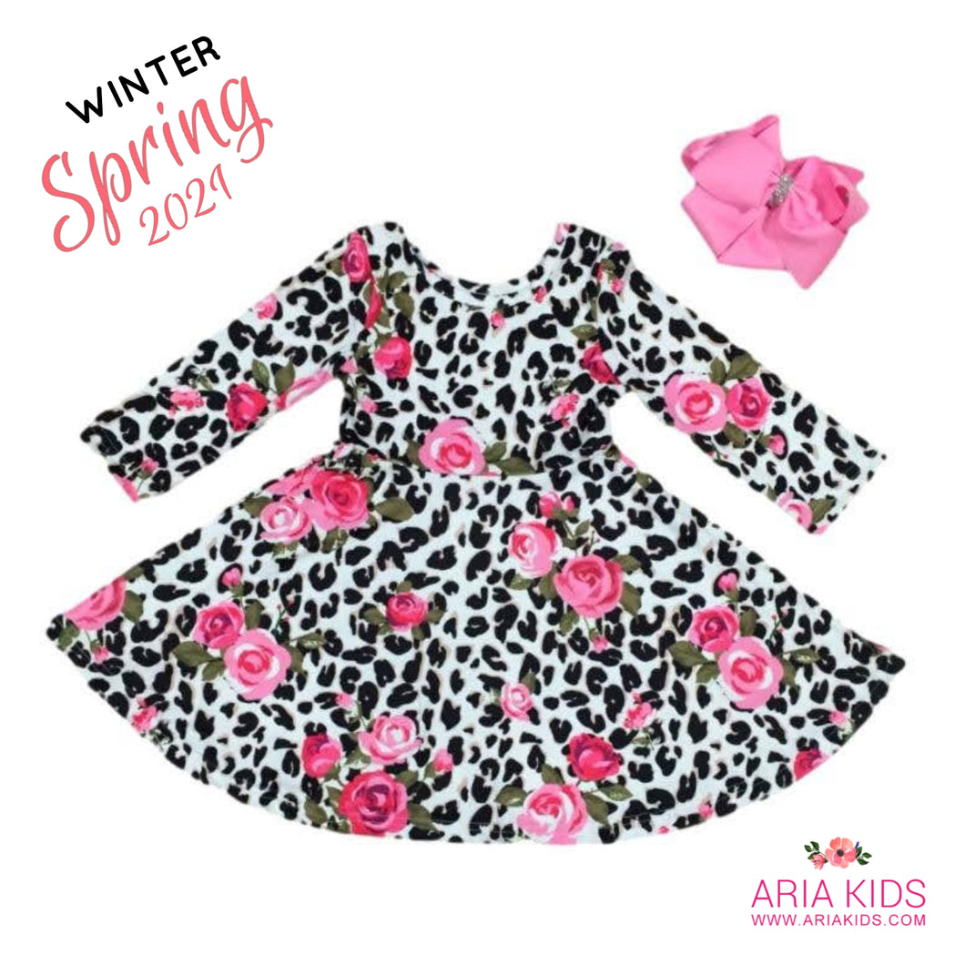 Leopard Pink Rose Twirl Dress with Hair Bow  - PRE-ORDER - ARIA KIDS