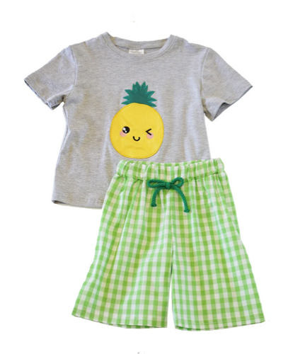 Pineapple Applique Shorts Set - ARIA KIDS