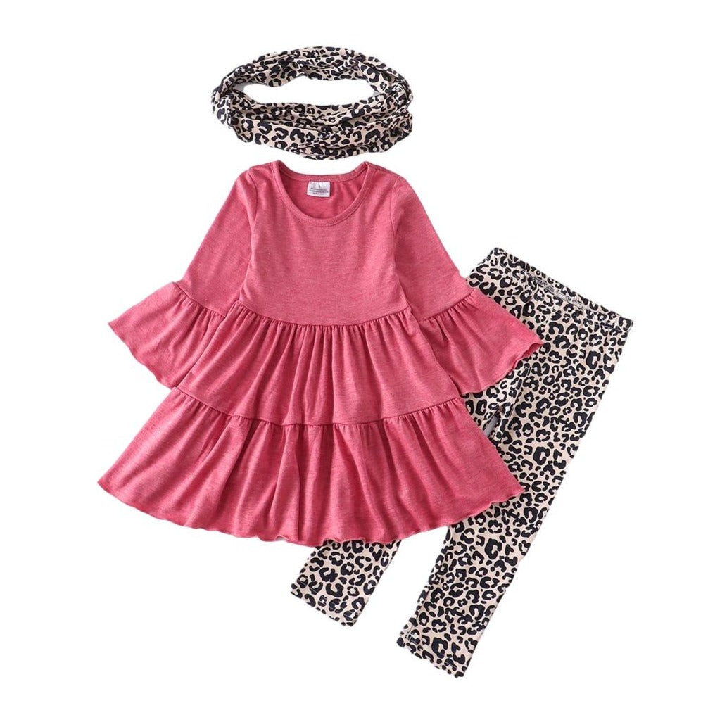Pink Leopard Tunic, Pants, Scarf 3-Piece Set - ARIA KIDS