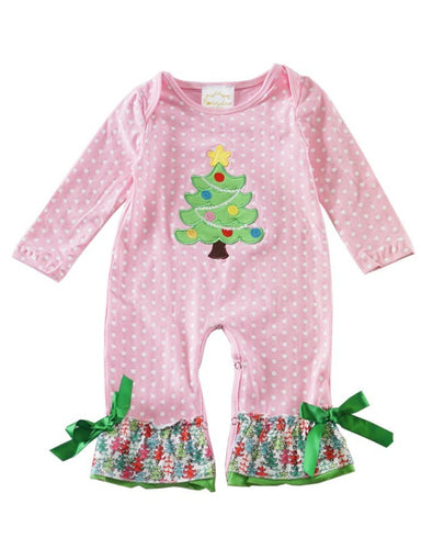 Pink Polka Dot Christmas Tree Baby Romper - ARIA KIDS