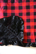 Buffalo Plaid Ruffle Minky Baby Blanket in Red and Black - ARIA KIDS