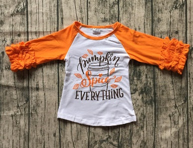 Pumpkin Spice Everything Fall Raglan Ruffle Shirt - ARIA KIDS