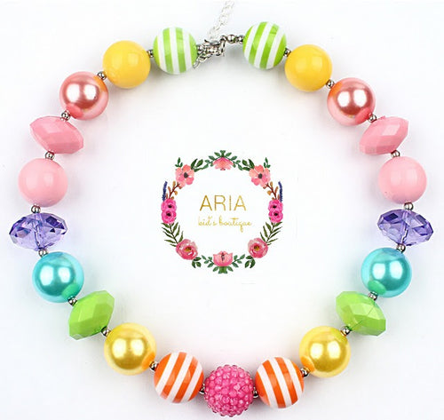 Rainbow Bubblegum Chunky Necklace - (RTS) - ARIA KIDS