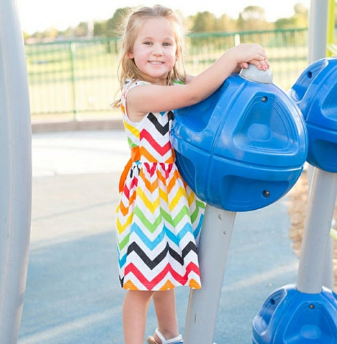 Rainbow Chevron Dress - ARIA KIDS
