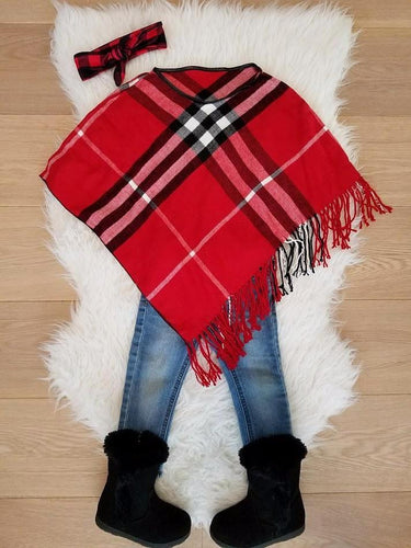 RED - ARIANA Toddler Girl Round Neck Plaid Poncho - ARIA KIDS