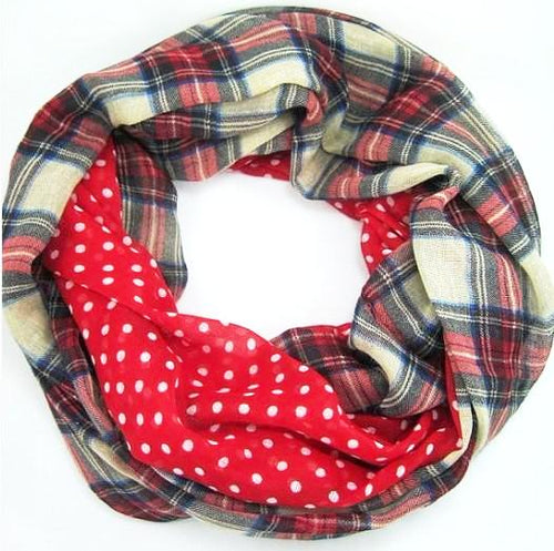 RED Polka Dot Plaid Women's Scarf - ARIA KIDS