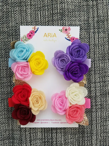 Rose Hair Clips - ARIA KIDS