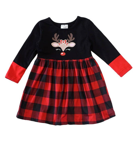Deer Plaid Dress in Black and Red - ARIA KIDS