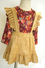 Red Floral Top with Cream Suspender Skirt Set - ARIA KIDS
