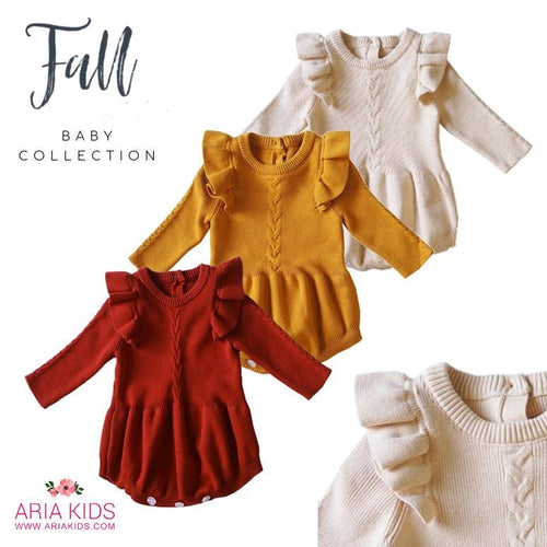 The Valentina Ruffle Knit Romper in 3 Colors - ARIA KIDS