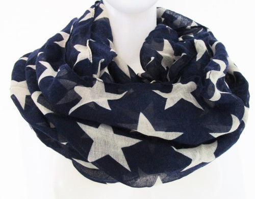 Navy White Ladies Star Printed Infinity Scarf - ARIA KIDS