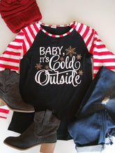 "Striped Mommy & Me Matching Christmas Raglan - ""Baby It's Cold Outside"""