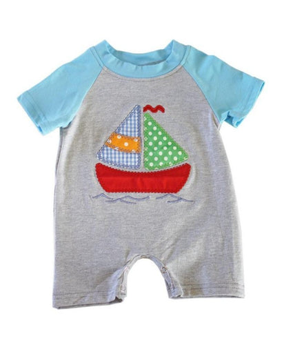 Blue Gray Sail Boat Baby Boy Romper - ARIA KIDS
