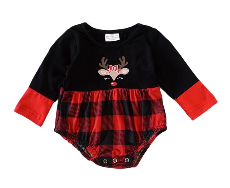 Deer Plaid Baby Romper in Black and Red - ARIA KIDS