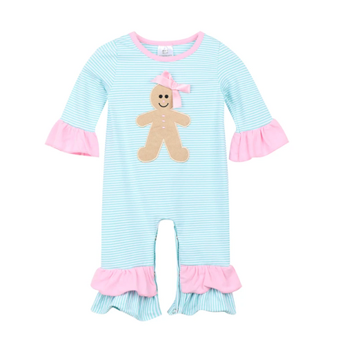 The Gingerbread Girl Striped Baby Romper in Pink & Blue - ARIA KIDS