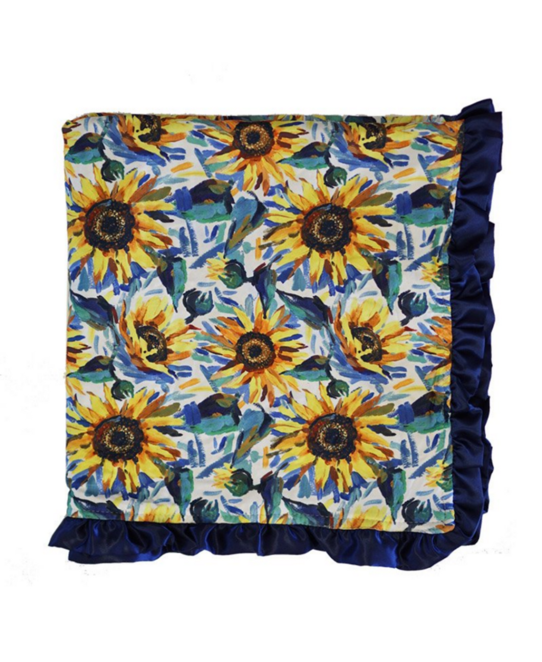 Sunflower Navy Ruffle Minky Baby Blanket - ARIA KIDS