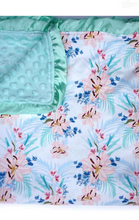 Mint Floral Minky Baby Blanket - ARIA KIDS