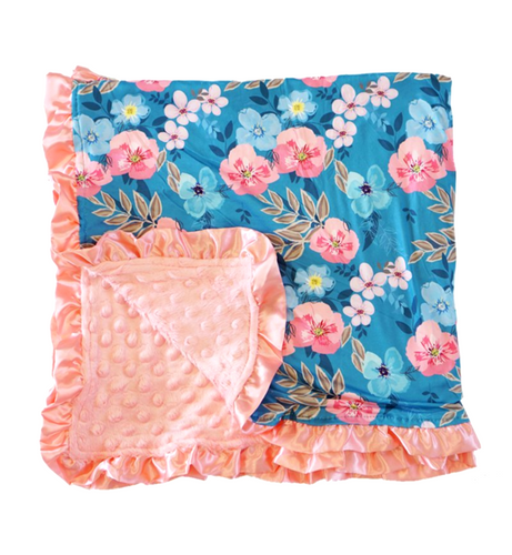 Blue Coral Floral Ruffle Minky Baby Blanket - ARIA KIDS
