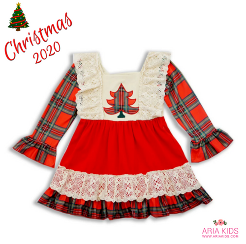 Plaid Christmas Tree Bell Sleeved Lace Christmas Dress - ARIA KIDS