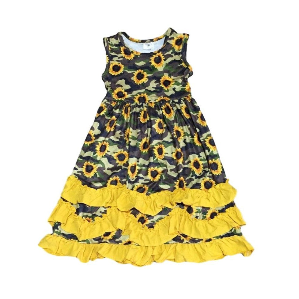Sunflower Camouflage Ruffle Dress - ARIA KIDS