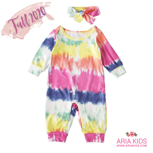 Tie Dye Watercolor Romper with Hairband - ARIA KIDS