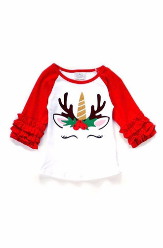 Unicorn Deer Christmas Holly Berry Ruffle Raglan - ARIA KIDS