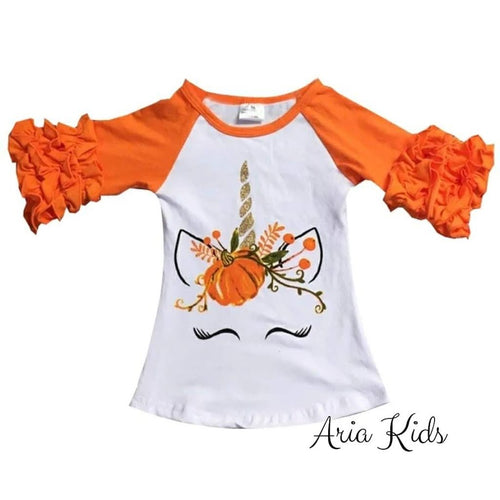 Unicorn Pumpkin Harvest Ruffled Fall T-shirt - Orange - ARIA KIDS