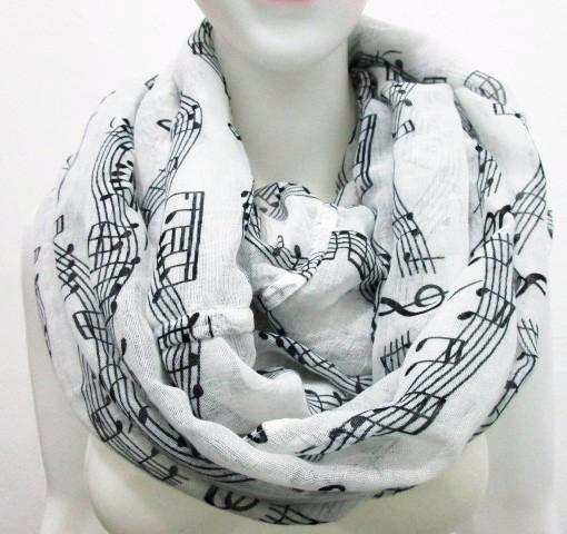 Music Notes - Black and White Soft Women's Scarf - ARIA KIDS