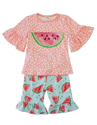 Pink Watermelon Polka Dot Bell Sleeve & Shorts Set - ARIA KIDS