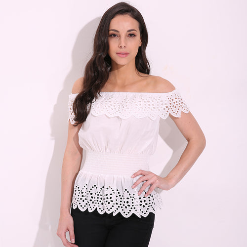 Ladies 'Jazabel' Off Shoulder Lace Blouse in White - ARIA KIDS