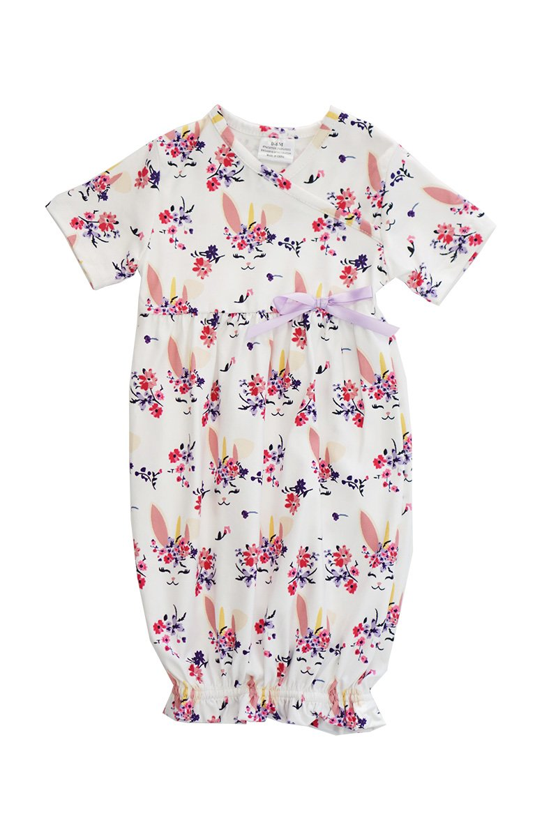 White Floral Bunny Baby Gown - ARIA KIDS