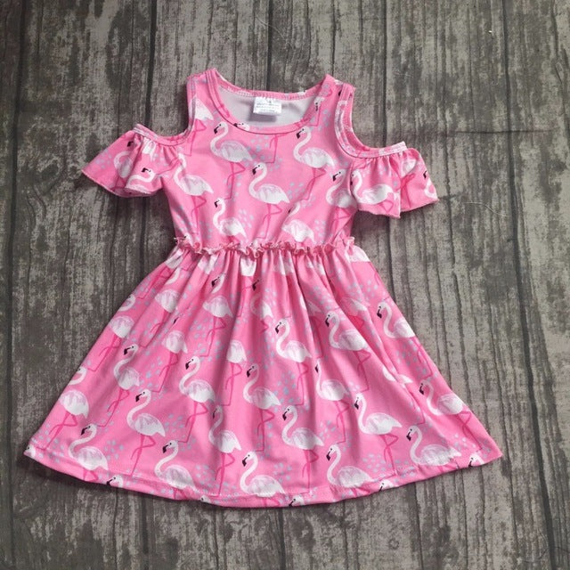 Flamingo Open Shoulder Dress - ARIA KIDS