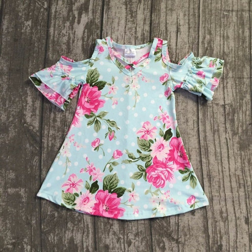 Rose Cold Shoulder Bell Sleeve Dress - ARIA KIDS