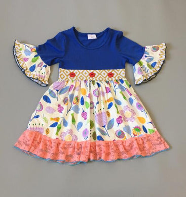 Natalia Floral Bell Sleeved Royal Blue Dress - ARIA KIDS